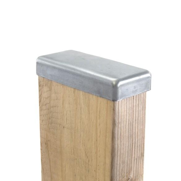 "1 1/2"" x 3 1/2"" Flat Galvanized Post Cap for Wood 2"" x 4"" (Fits Actual 1 1/2"" x 3 1/2"" OD Wood) 2x4 Wood Post Installation"