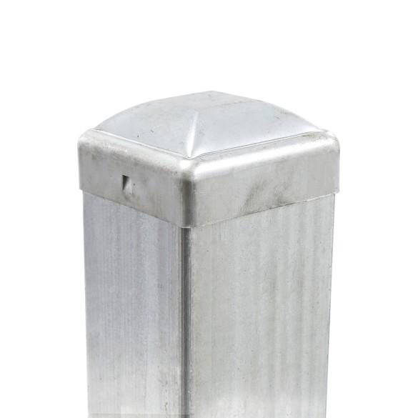 """2 1/2"""" Square Pressed Steel Dome Cap Galvanized Steel 2 1/2 x 2 1/2 (Installation Shown)"""