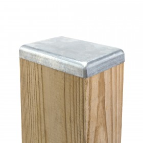 "3 1/2"" x 5 1/2"" Flat Galvanized Steel Square Post Cap for Wood 4x6 (Fits Actual 3 1/2"" x 5 1/2"" OD Wood)"