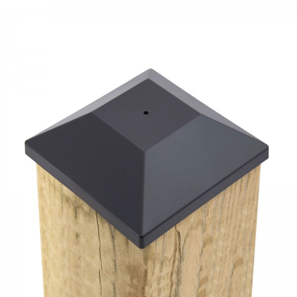 """5 5/8"""" Nail In Place Post Cap For 6"""" x 6"""" Wood Post LMT 1622 (Installation Shown)"""