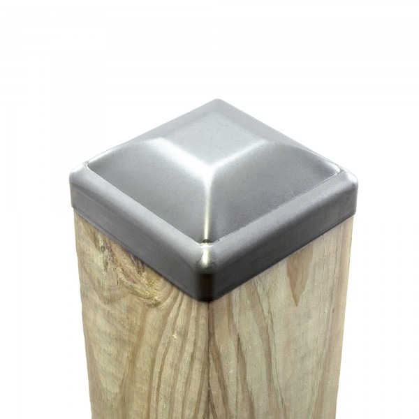 "3 1/2"" Square Pressed Steel Dome Cap Galvanized Steel For Wood 4"" x 4"" (Fits Actual Size 3 1/2"" x 3 1/2"" OD Wood) Post Installation Shown"