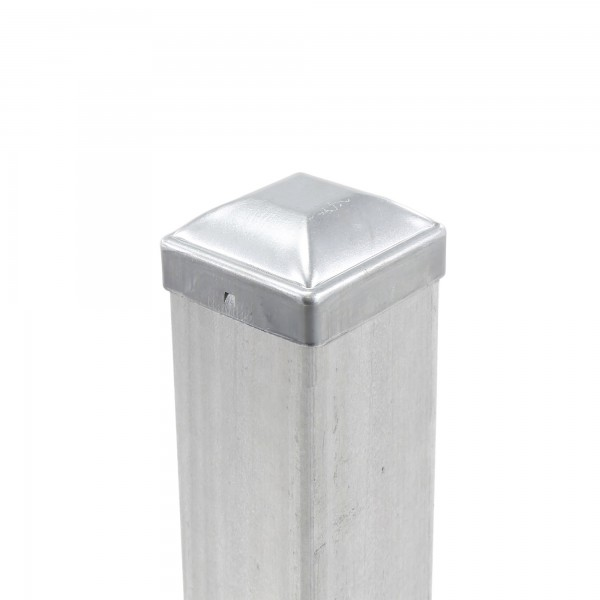 """3"""" Square Pressed Steel Dome Cap Galvanized Steel 3X3 (Installation Shown As Example)"""