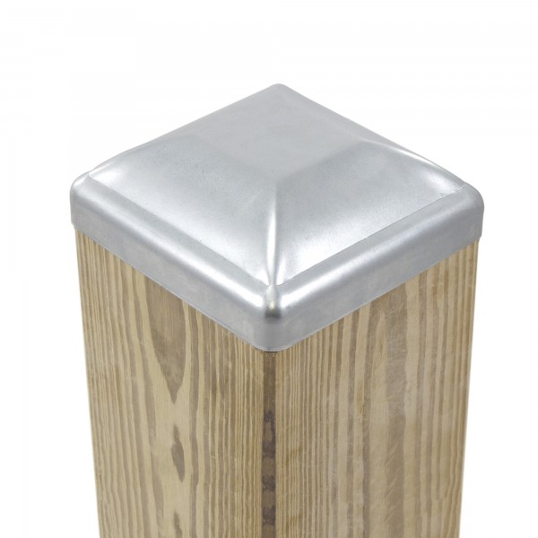 "5 1/2"" Square Pressed Steel Dome Cap Galvanized Steel For Wood 6"" x 6"" (Fits Actual Size 5 1/2"" x 5 1/2"" OD Wood) - Installation Shown"